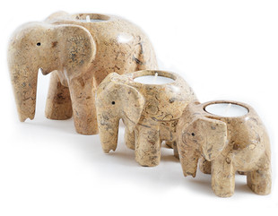 Fossilstone Elephant Candle Collection