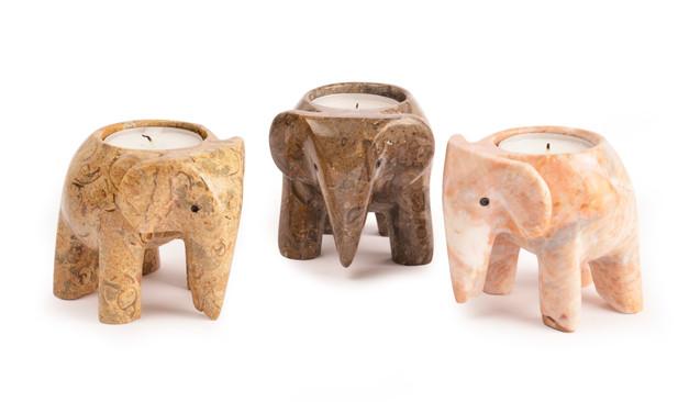 Elephant Tea Light Holders - Fossilstone