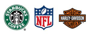 Starbucks, NFL, Harley Davidson logos