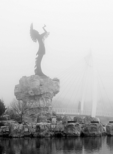 Keeper of the Plains in Winter fog