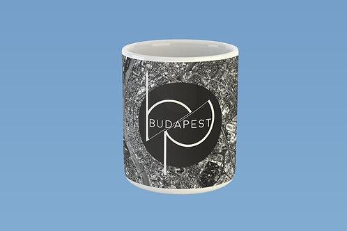 Budapest térkép bögre fekete logóval