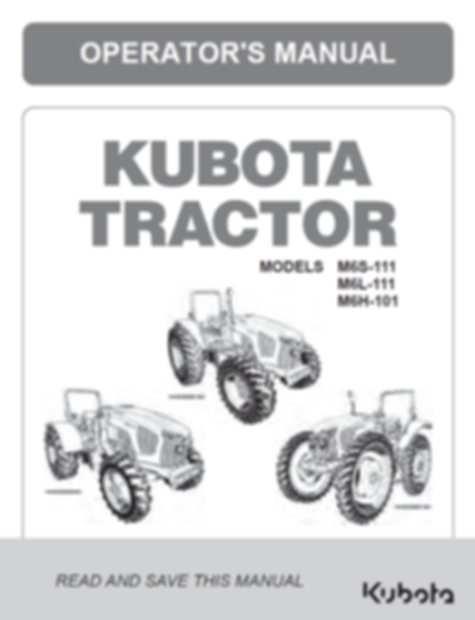 Kubota M6S-111, M6L-111, M6H-101