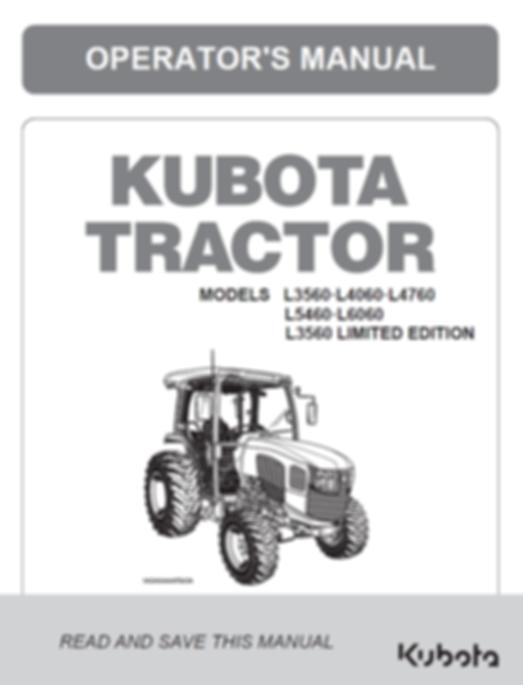 Kubota L3560, L4060, L4760, L5460, L6060 CAB