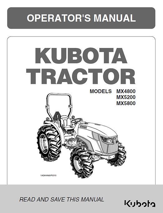 Kubota MX4800, MX5200, MX5800