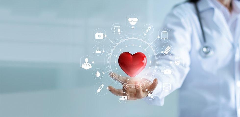 Medicine doctor holding red heart shape
