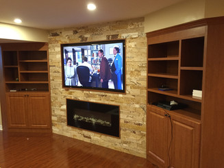Recessed TV And Fireplace Install