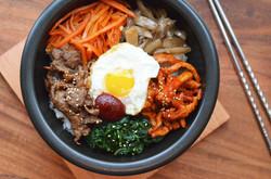 Korean Bibimbap in Sizzling Hot Stone Bowl