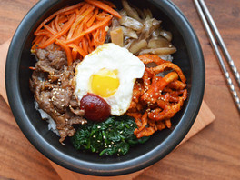 Korean Bibimbap in a Sizzling Hot Stone Bowl