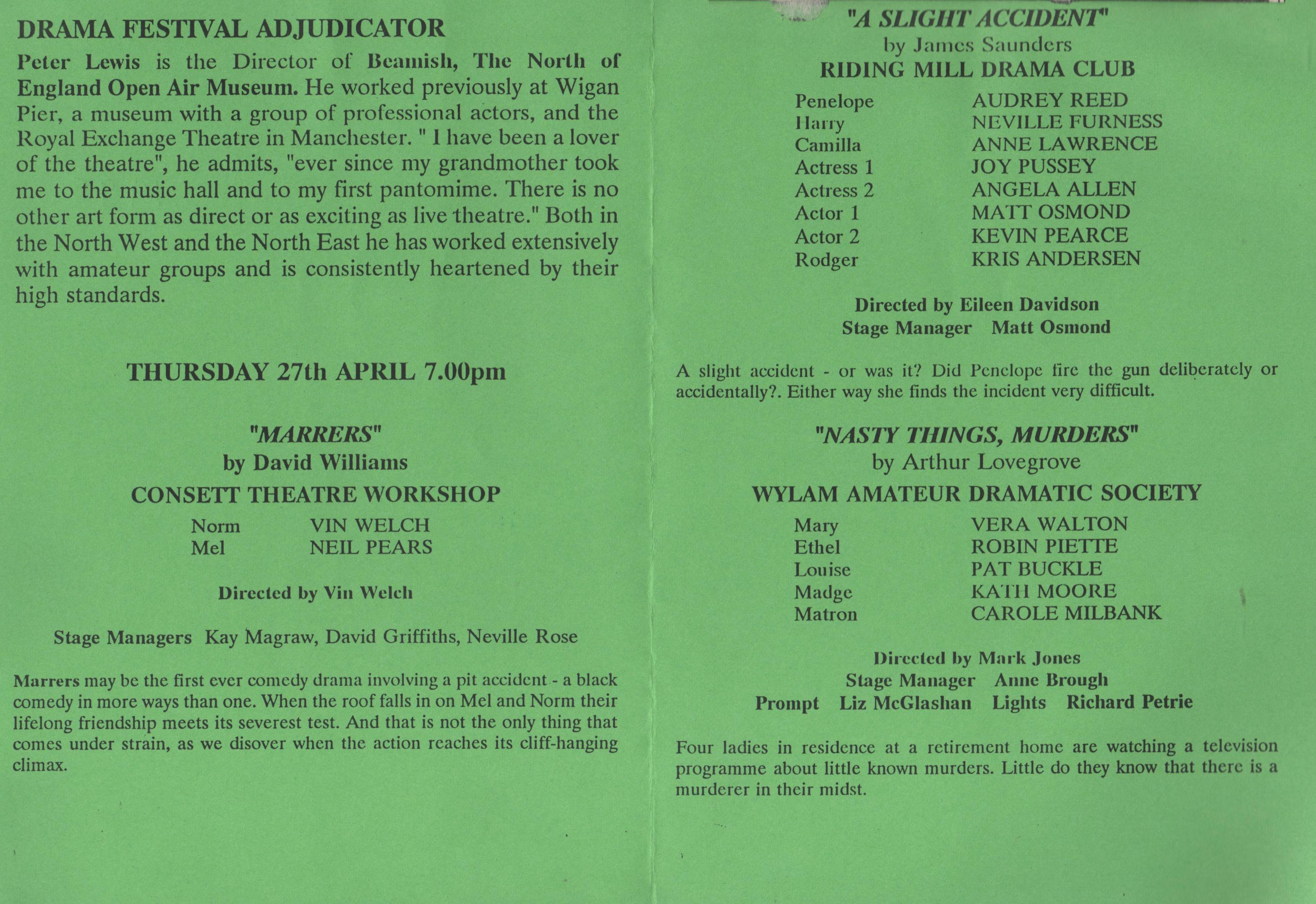 1995 Riding Mill Drama Club, Tynedale Fe