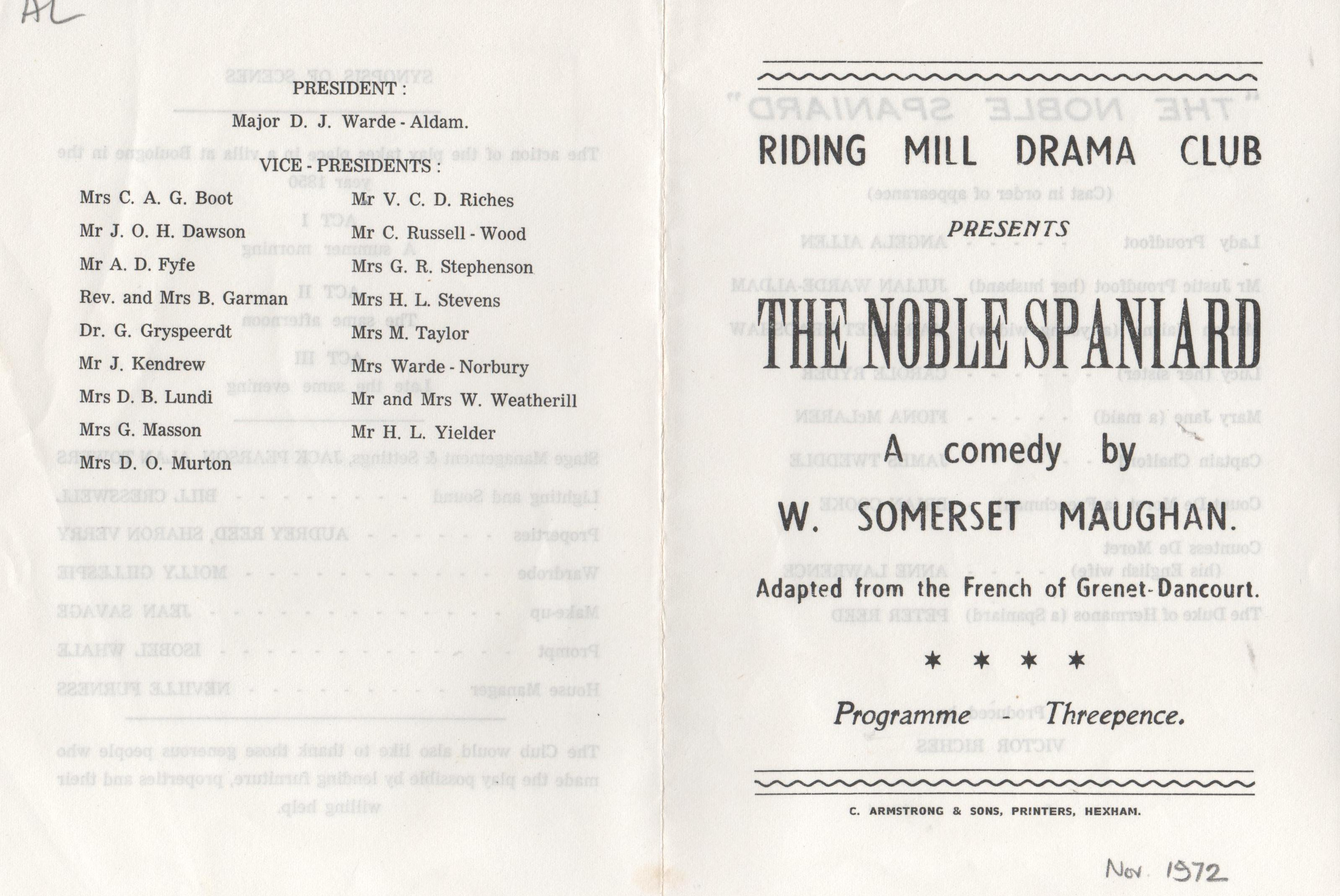 1972,Riding Mill Drama Club, The Nobel S