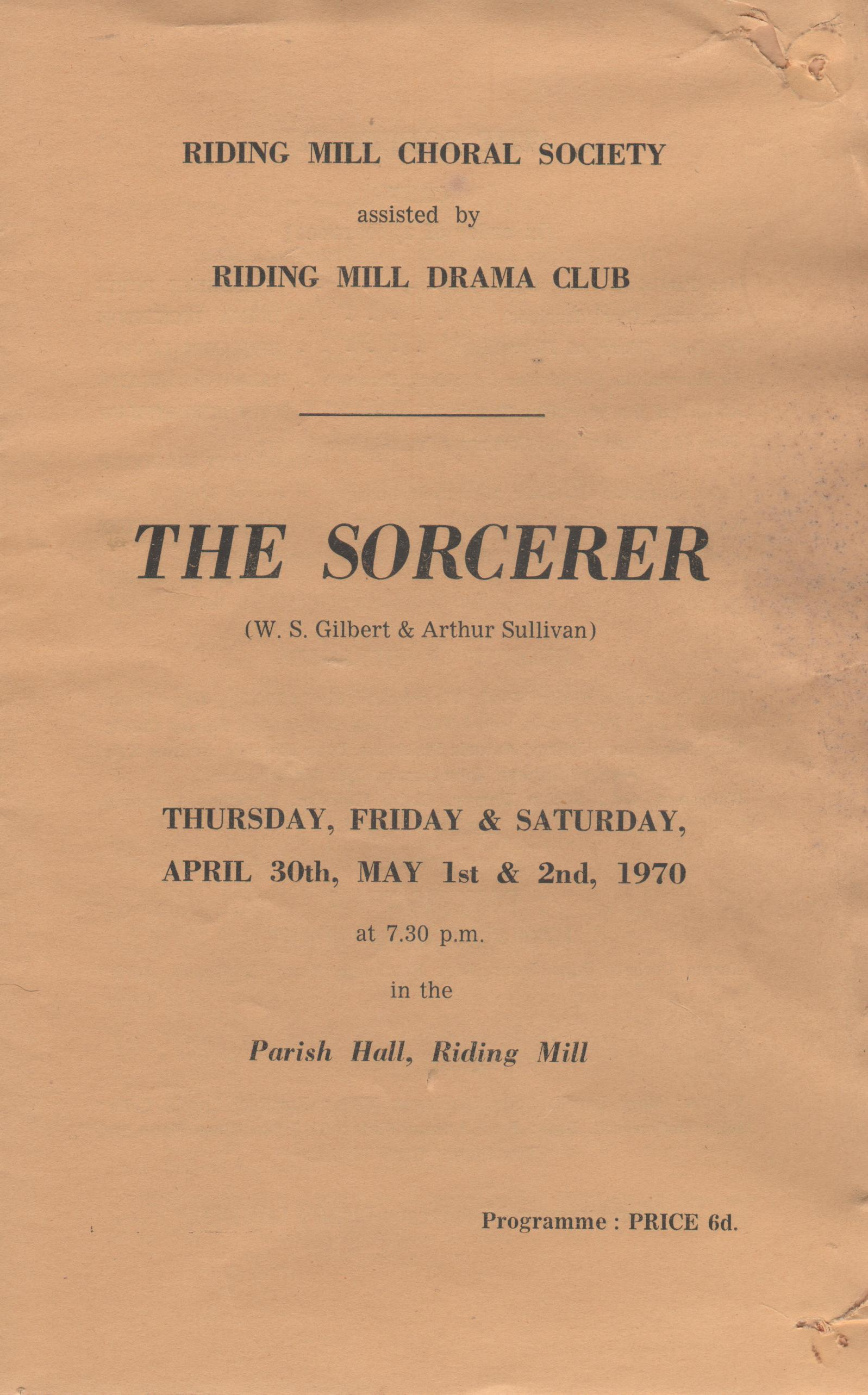 1970, Riding Mill Drama Club, The Sorcer