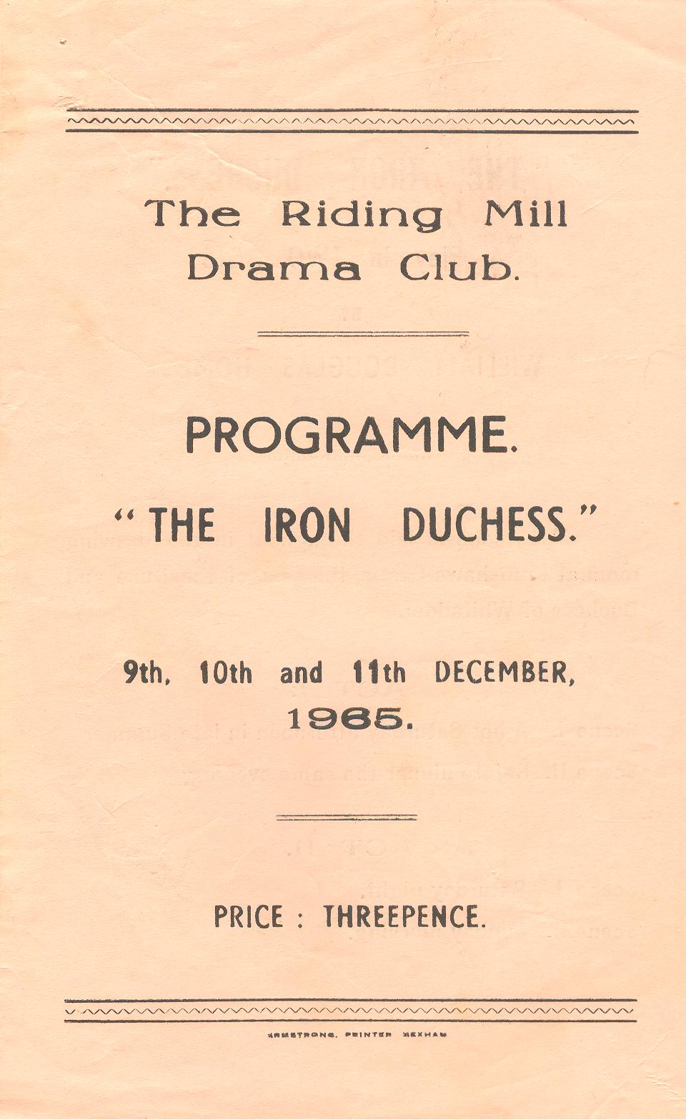 1965 Riding Mill Drama Club, The Iron Du