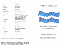 2005 Riding Mill Drama Club, Alarms and