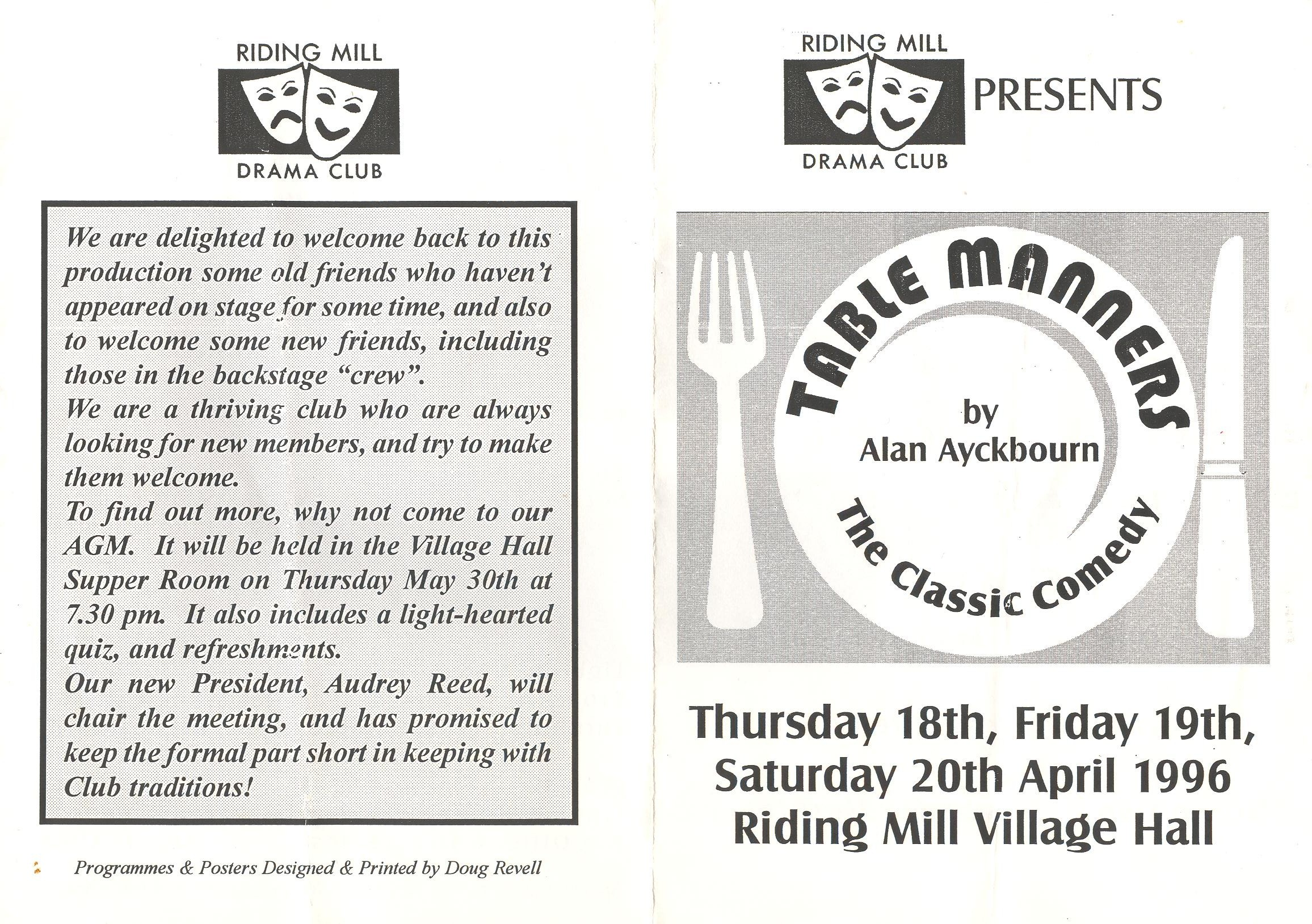 1996 Riding Mill Drama Club, Table Manne