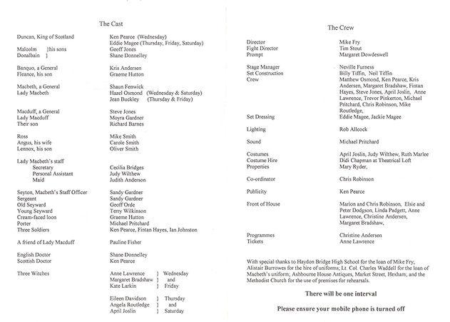 2004. Riding Mill Drama Club,  Macbeth,