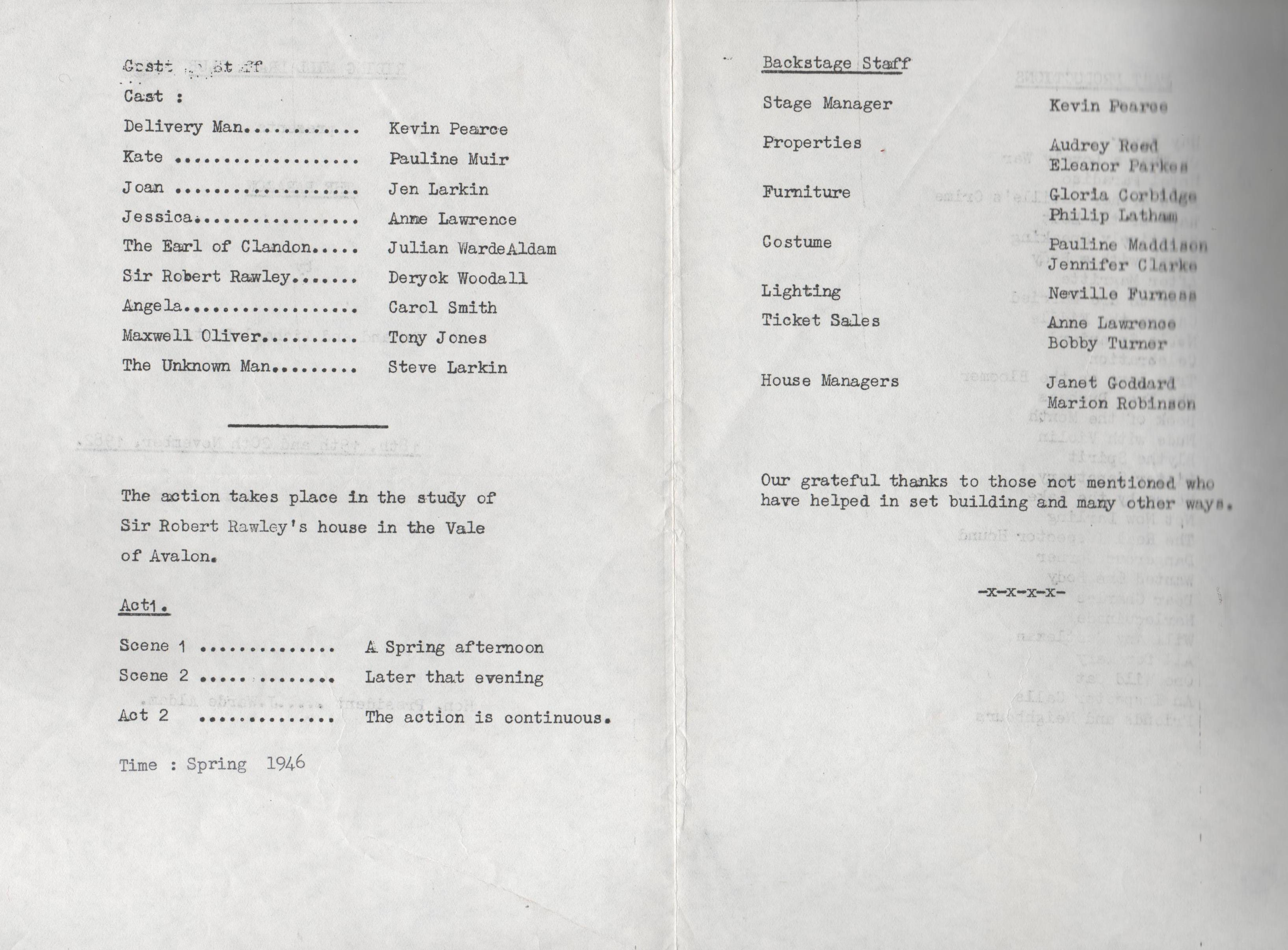 1982, Riding Mill Drama Club, The Parago