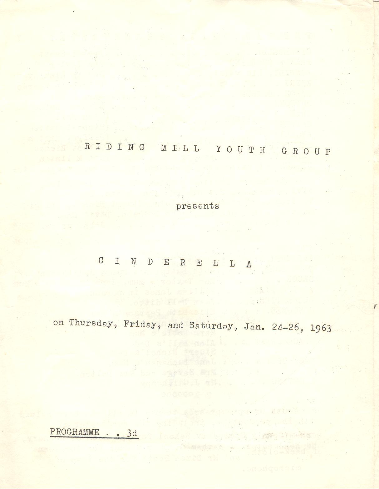 1963 Riding Mill Drama Club, Cinderella,