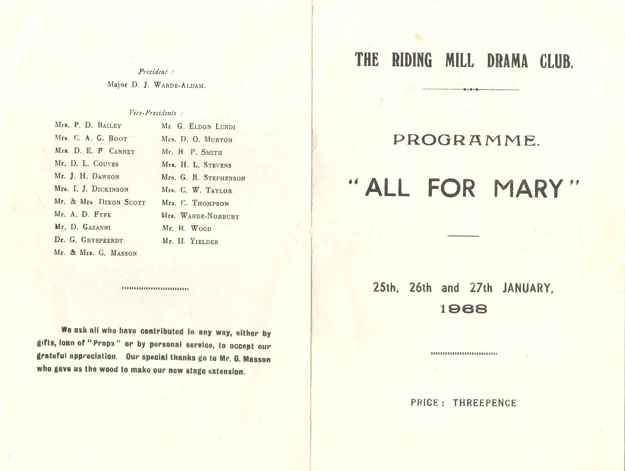 1968 Riding Mill Drama Club, All for Mar