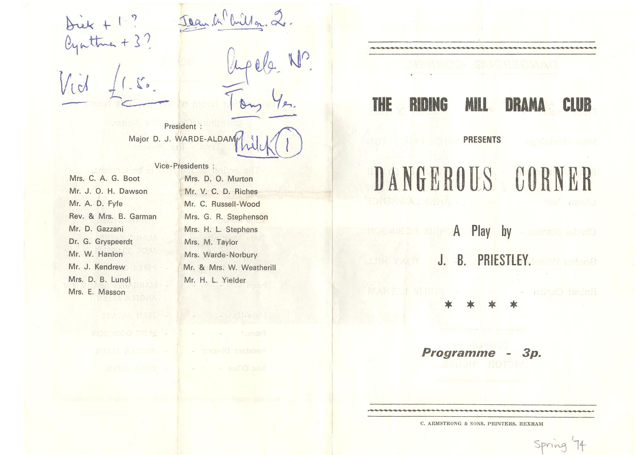 1974 Riding Mill Drama Club, Dangerous C