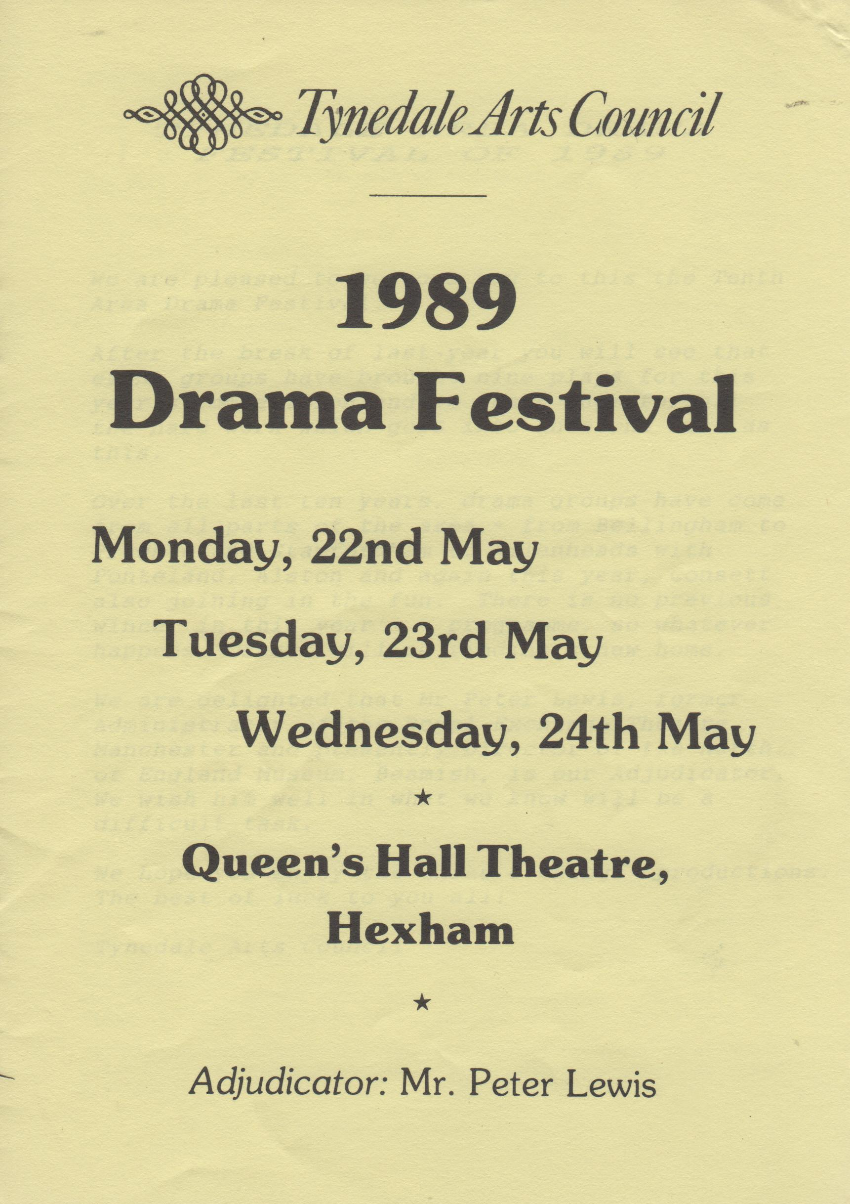 1989, Riding Mill Drama Club, Tynedale D
