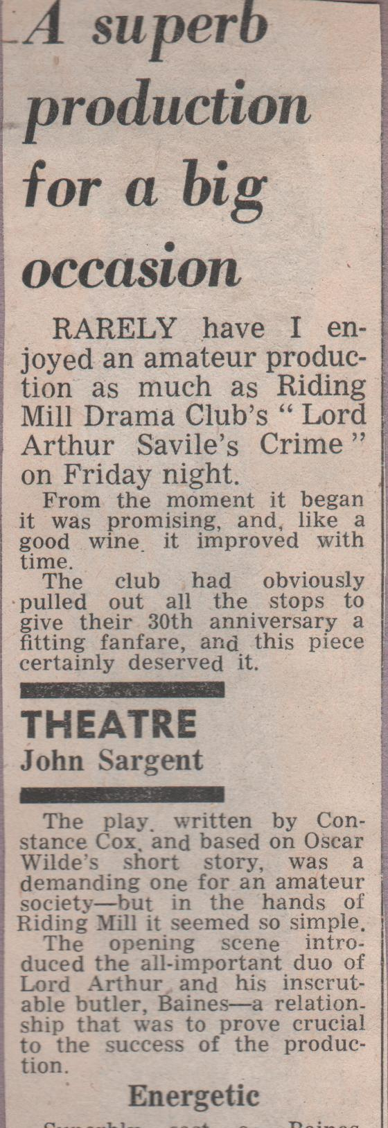 1980, Riding Mill Drama Club, Lord Arthu
