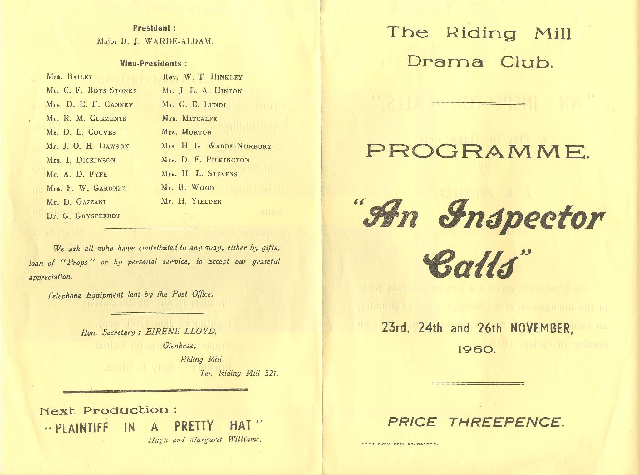 1960 Riding Mill Drama Club, An Inspecto