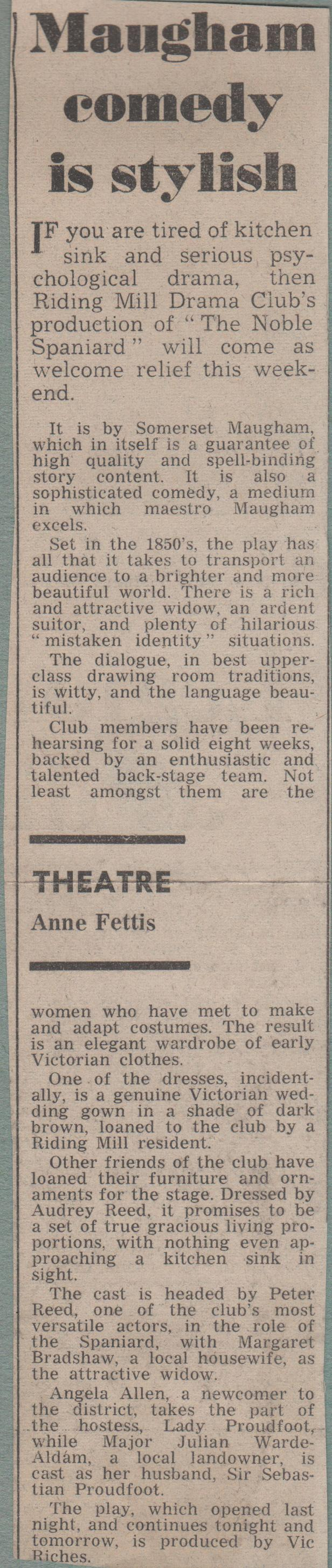 1972, Riding Mill Drama Club, The Nobel