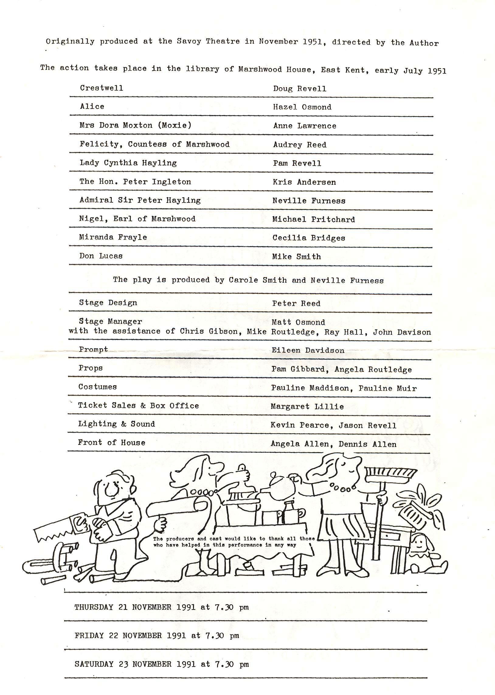1991 Riding Mill Drama Club, Relative Va