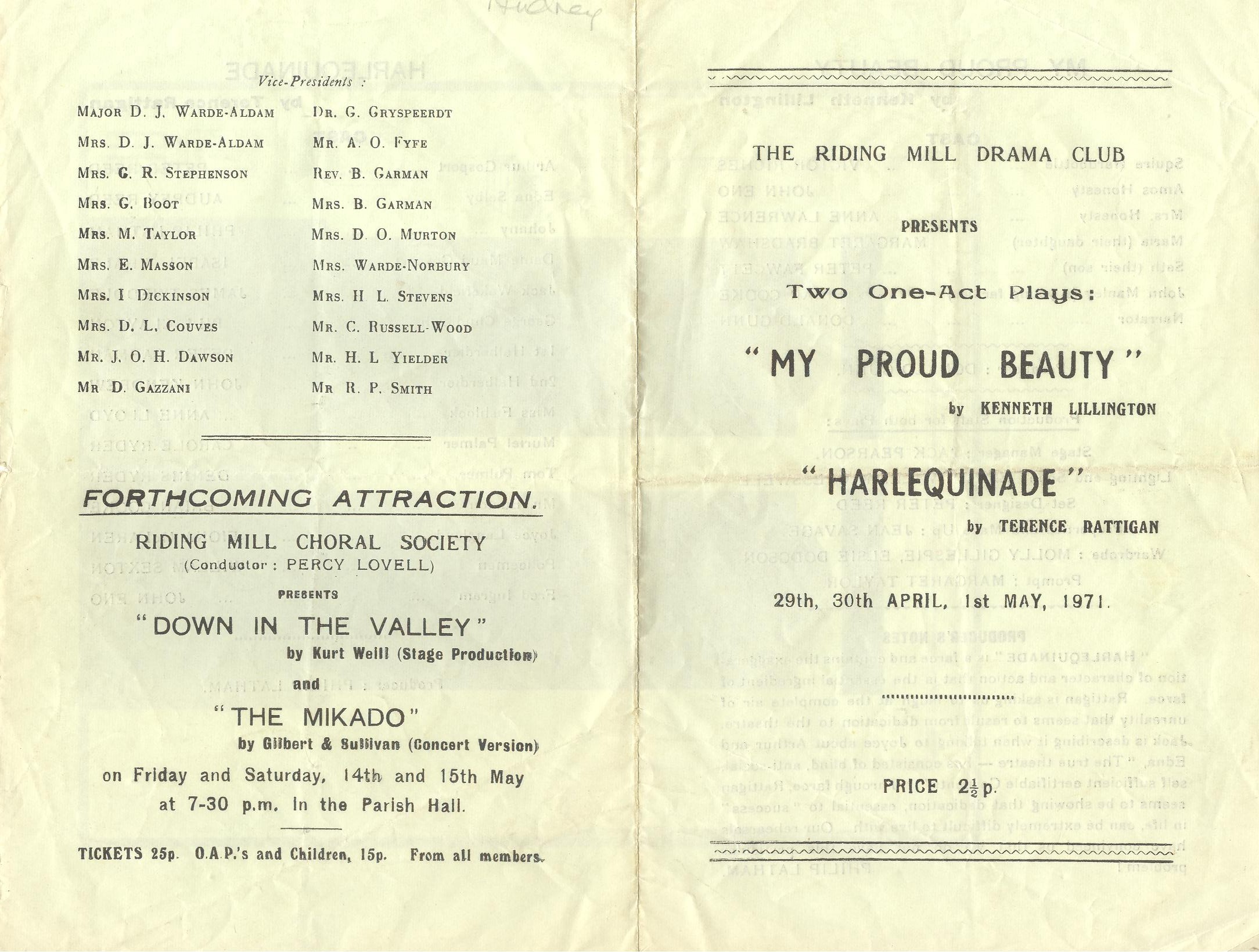 1971 Riding Mill Drama Club, My Proud Be