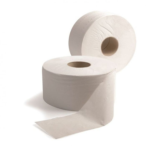 "6 Pack of 2ply White Std Jumbo Toilet Roll PURE 400mtr 2.25"" Core"