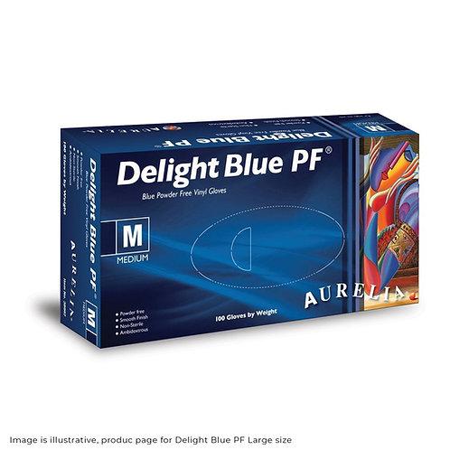 Delight blue powder free vinyl disposable gloves