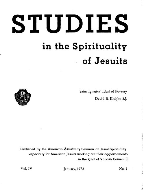 Saint Ignatius' Ideal of Poverty (Studies in Spirituality of Jesuits)