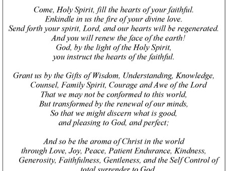 """""""Grant us by the Gifts of the Holy Spirit…"""""""