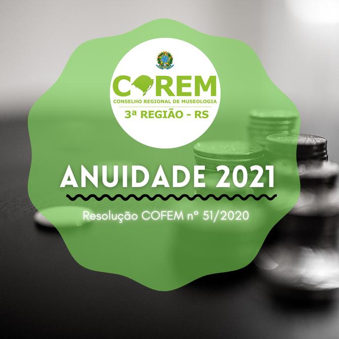 RESOLUÇÃO COFEM Nº 51/2020 - ANUIDADES E TAXAS 2021