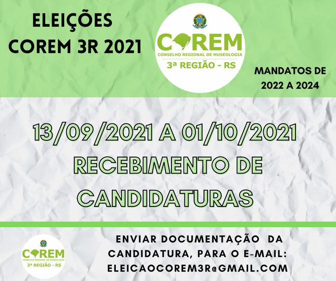 ELEIÇÕES 2021   RECEBIMENTO DE CANDIDATURAS