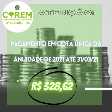 PAGAMENTO DA ANUIDADE 2021 ATÉ 31/03/2021