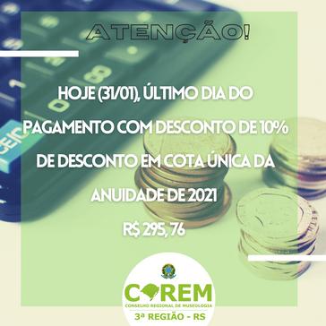 ÚLTIMO DIA PARA DESCONTO DE 10% DA ANUIDADE 2021