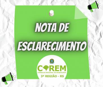 NOTA DE ESCLARECIMENTO COREM 3ª REGIÃO