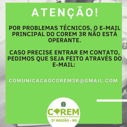 PROBLEMAS TÉCNICOS COM E-MAIL PRINCIPAL DO CONSELHO