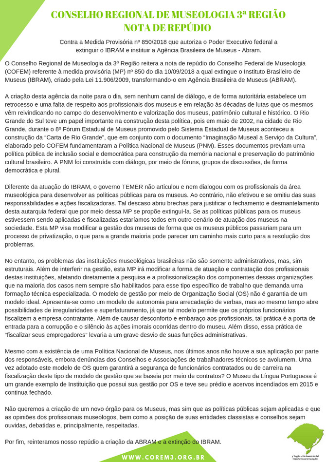 NOTA DE REPÚDIO DO COREM3R