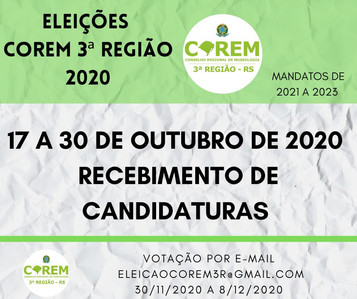 ELEIÇÃO 2020 - RECEBIMENTO DE CANDIDATURAS