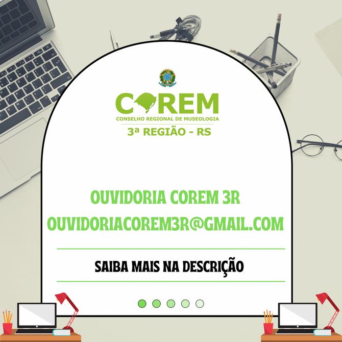 COREM 3R AGORA TEM UM NOVO E-MAIL INSTITUCIONAL