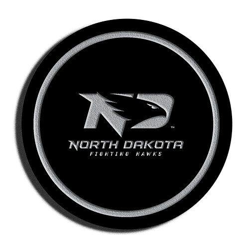 North Dakota Fighting Hawks Black Acrylic Coaster Set