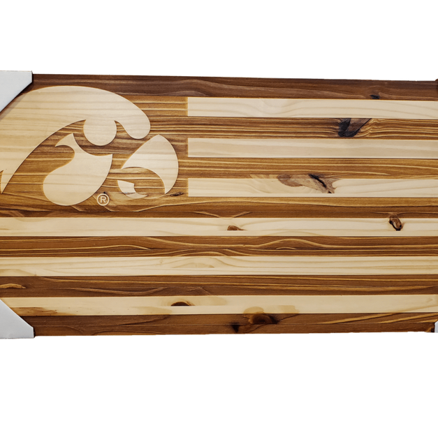 Wooden Iowa Flag