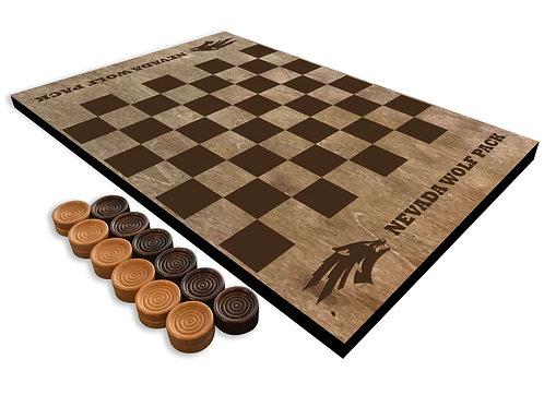 Nevada Wolf Pack Wooden Checkerboard