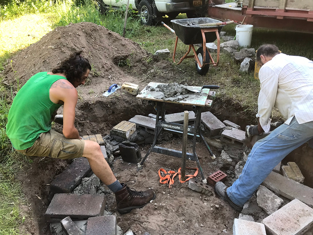 Constructing the foundation for the brick oven