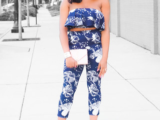 2-Piece Navy Floral Set