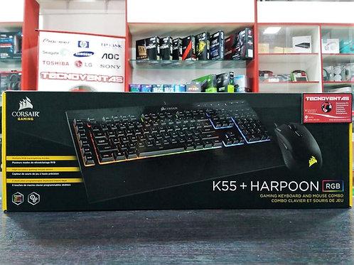 Combo teclado y mouse Gamer Corsair K55 + Harpoon