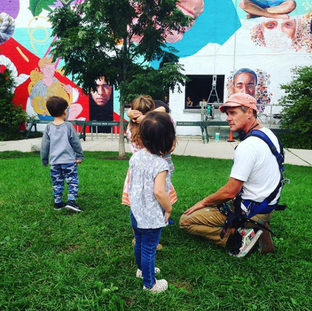 Some tots visited while Jeff was painting the 5000 square foot ConAgra mural on the 606 at Milwaukee.