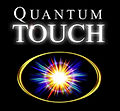 Quantum Touch logo; sideways oval in gold with s multi coloured star in the centre